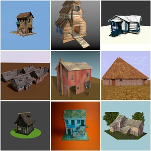 Old Taverns, Barns and Cabins 3D Model