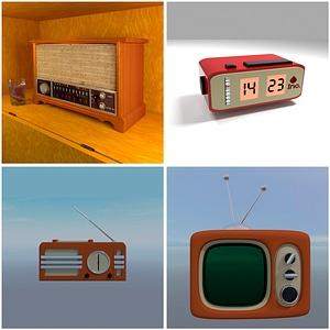 Retro Radio and TV 3D Model