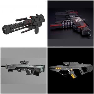 Pistolas de ciencia ficción modelo 3D