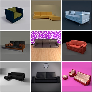 Set of Couch 3D Model