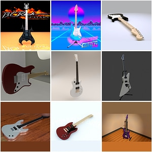 Set of Electric Guitars 3D Model