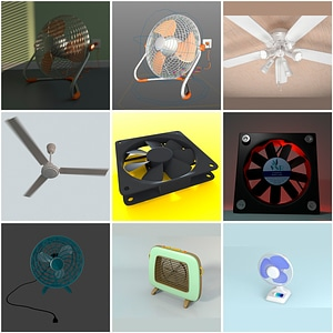 Set of Fan 3D Model