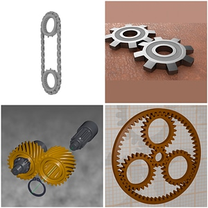 Set of Gears Rigged 3D Model