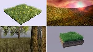Set of Grass 3D Model