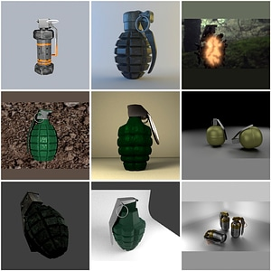 Set of Grenades 3D Model