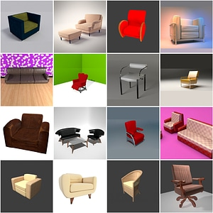 Set of Armchairs 3D Model