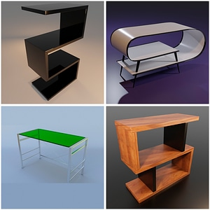 Set of Modern Tables 3D Model