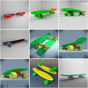 Set of Skateboards 3D Model
