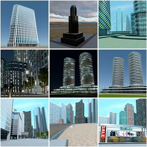Set of Skyscrapers 3D Model