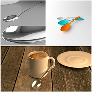 Set of Spoons 3D Model