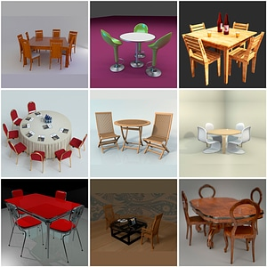 Set of Tables with Chairs 3D Model