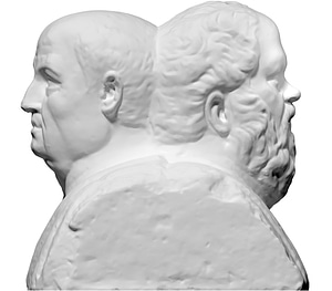 Double Herm with Socrates and Seneca 3D Model