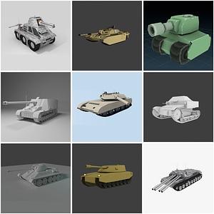 Set of Tanks 3D Model
