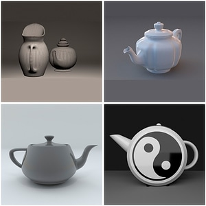 Set of Teapots 3D Model