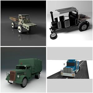 Set of Trucks 3D Model