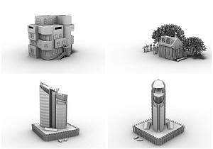 Set of Houses 3D Model