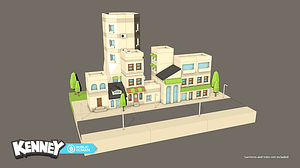Set of Modular Buildings and Houses 3D Model