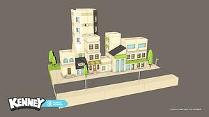 Sæt med modulære bygninger og huse 3D-model