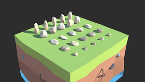 低ポリ岩のセット3Dモデル
