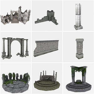Fantasy Ruins Pack 3D Model