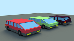 Set of Low Poly Cars 3D Model