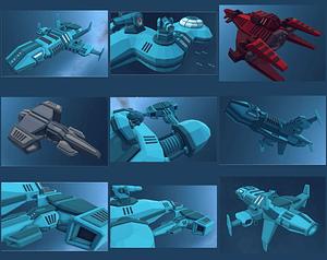 Modular Spaceships 3D Model