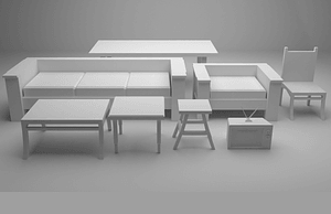 Huonekalusarja 3D-malli