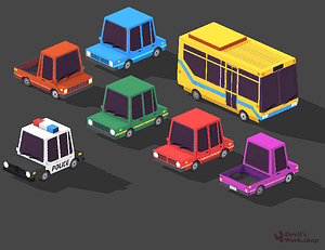 Low Poly Cars Set 3D Model