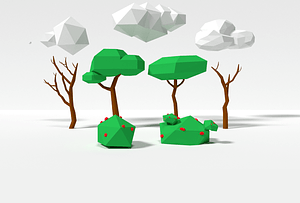 Low Poly Trees and Clouds 3D Model