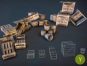 나무 상자들 3D 모델