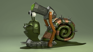 Cartoon Battle Snail 3D Model
