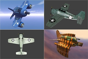 Set of Plane Fighters 3D Model