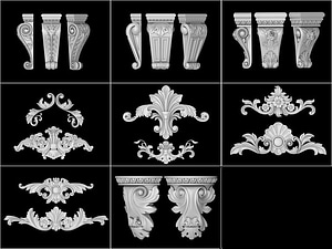 Set of architectural corbels and ornaments 3D Model
