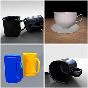 Sæt med kopper 3D-model