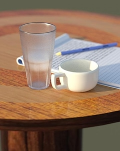 Table with mug and glass 3D Model