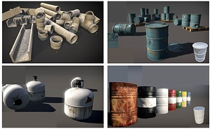 Pipes, Cans and Barrels 3D Model