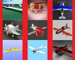 Set of Cartoon and Futuristic Airplanes 3D Model