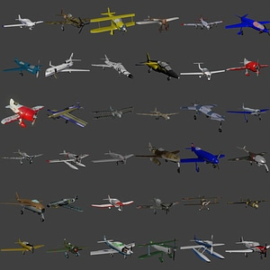 Set of Airplanes 3D Model