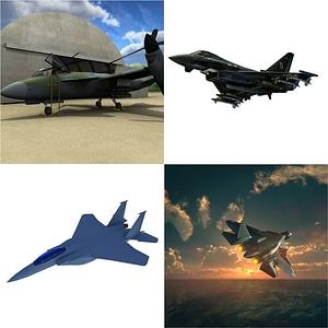 ジェット機のセット3Dモデル