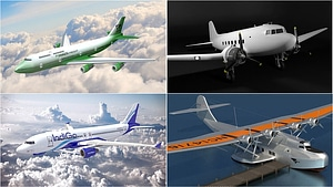 Set of Passenger Airplanes 3D Model