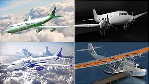 旅客機のセット3Dモデル
