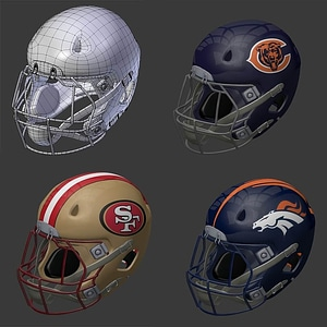 American Football Helmets 3D Model
