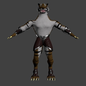 Anthropomorphic Tiger 3D Model