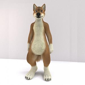 Anthropomorphic Wolf 3D Model