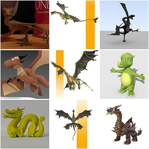 Set of Dragons 3D Model