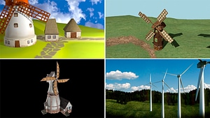 Set of Windmills 3D Model