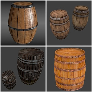 Set of Wood Barrels 3D Model