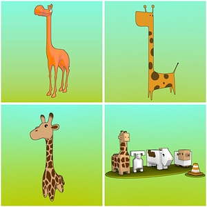 Set of Cartoon Giraffes 3D Model