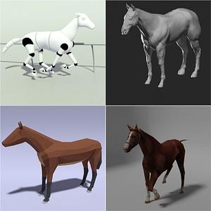 Set of Horses 3D Model