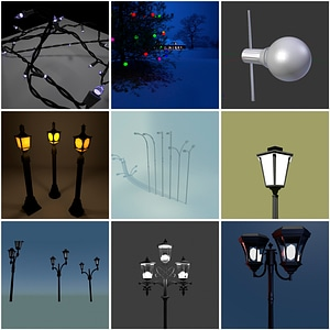 Street Lights and Lamps 3D Model